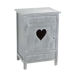 Meuble de chevet - Table de nuit en bois lasuré gris - 1 porte avec un coeur et 1 étagère