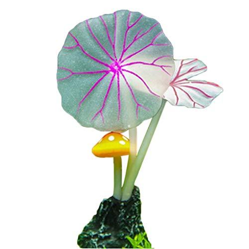 e künstliche gefälschte lotusblätter Gras Pilze Tank dekor Aquarium Ornament langlebig und nützlich ()
