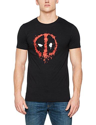 Marvel Deadpool Paint Logo T-Shirt, Noir (Black...