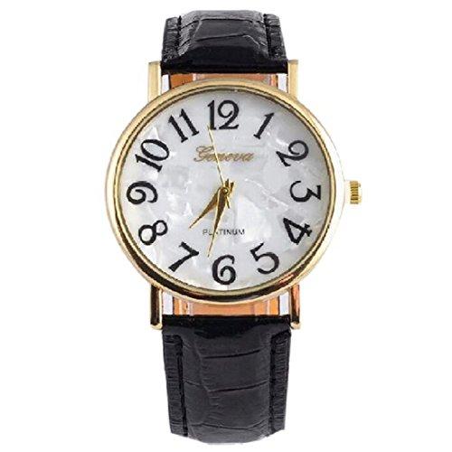 JoyliveCY - Relojes de pulsera, de vestir, para mujer, esfera redonda con números grandes, de cuarzo...