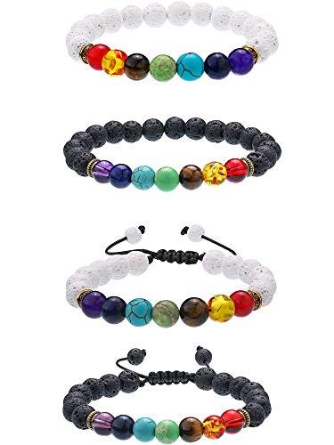 cb258f6c7056 4 Piezas de Pulseras de Piedras de Lava Brazaletes con Abalorios de Chakra  de 7 Colores