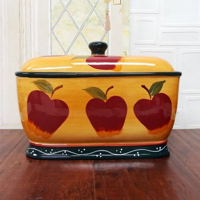 Tuscany Country Apple, Hand Painted Ceramic, Bread Box/Toast Jar, 84175 By ACK
