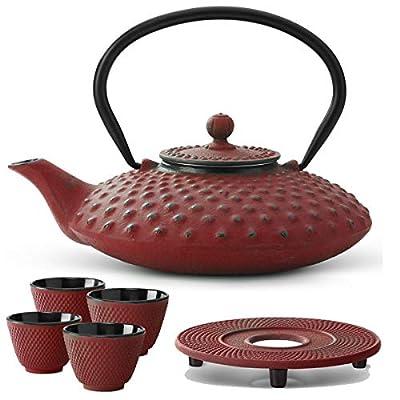 Bredemeijer Lot de 4 théière Asiatique en Fonte avec Filtre à thé et théière Rouge 0,8 l