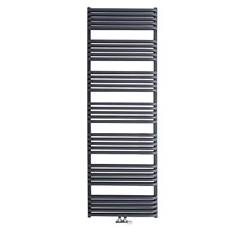 Hudson Reed Handtuch-Heizkörper Arch - Badheizkörper aus Stahl in Anthrazit -Mittelanschluss - 2083 Watt - 1800 mm x 600 mm - Ideal für Moderne Badezimmer