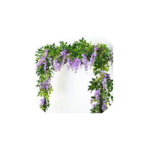Artificial Glyzinierebe Garland Pflanzen Laub Außen Startseite Gefälschte Blumen-hängende Wand-Dekor-3Pcs Nachgestellte, Lila ()
