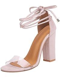 Sandalias mujer, ❤️ Manadlian Sandalias de mujer Moda Tacones altos de tobillo Fiesta en la calle Zapatos con punta abierta (CN:36, Beige)