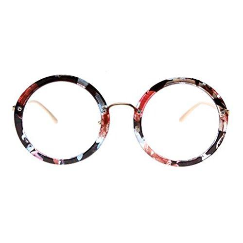 Black Temptation Retro runde Gläser Rahmen Mode flache Gläser -Dark Brown