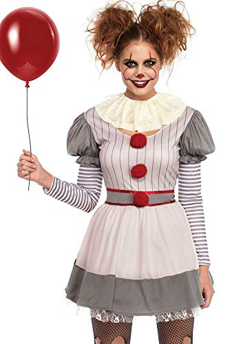 shoperama Damen-Kostüm Creepy Clown Killer Pennywise Halloween Leg Avenue gruselig Horror Mörder boshaft, (Scary Zirkus Kostüm)