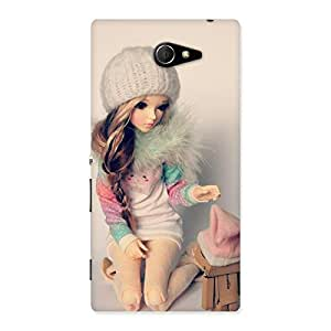 Luxirious Cute Winter Doll Multicolor Back Case Cover for Sony Xperia M2