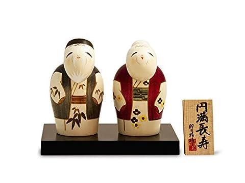 Kokeshi Paar Enmanchoju, original japanische Holz-Puppe, handgeschnitzt, von Hand bemalt. Kunst aus Japan für Dekoration, als Glücksbringer, Sammlerpuppe, Talisman. Geschenk GROSSE HARMONIE, je 11 cm