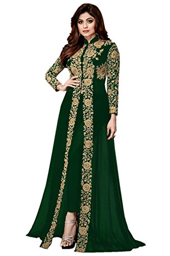 A and V Fashion Women's Faux Georgette Semi-stitched Embroidered Long Anarkali Suit, Free Size(Green, VDAGREENMR)
