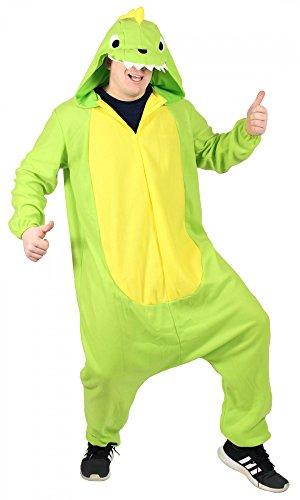 Kostüm Dinosaurier Dino - Foxxeo Dinosaurier Kostüm für Erwachsene Damen Dino Herren Overall weit grün gelb Pyjama Jumpsuit Tierkostüm Fasching Karneval Party Damenkostüm Herrenkostüm Männer Größe XXL
