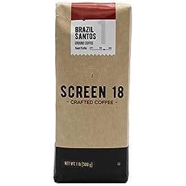 Brazilian Santos Single Origin Premium Crafted Coffee, Ground, Medium Dark Roast, 500 Gram