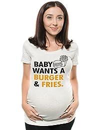 13745dd7a Silk Road Tees Bebé de Las Mujeres Quiere Hamburguesa y Papas Fritas  Divertido Camiseta de Maternidad Embarazo Top con Acanalada…
