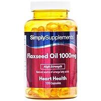 Aceite de Linaza 1000mg - 120 cápsulas - Hasta 4 meses de suministro - Una alternativa al aceite de pescado para.