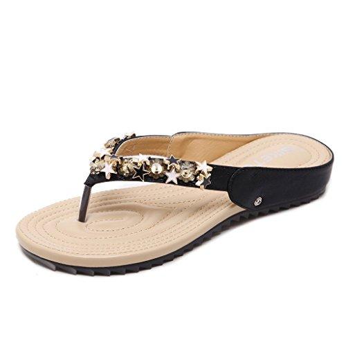 Auspicious beginning Frau-flache Flip-Flops niedrige Ferse Boho Sandals (Schuhe Für Mädchen Gold Ferse Riemchen)