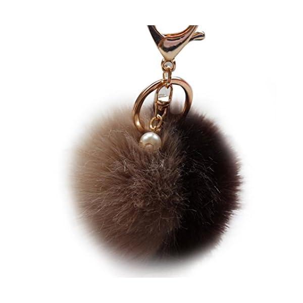 25f0d1b979 Oyedens artificiale pelliccia di coniglio palla peluche portachiavi ...