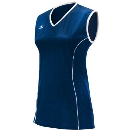 Mizuno Damen Klassische Avalon Sleeveless Jersey, Damen, Marineblau/weiß (Mizuno Trikot Volleyball)