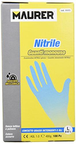 Maurer 15030635 - Guante desechable nitrilo, talla 8 L, caja 100 unidades
