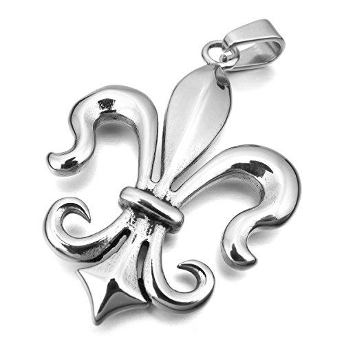 MunkiMix Acciaio Inossidabile Pendente Ciondolo Collana Argento Fleur de Lis Cavalieri Templari Lucido Uomo ,catenina lunga 58 cm inclusa
