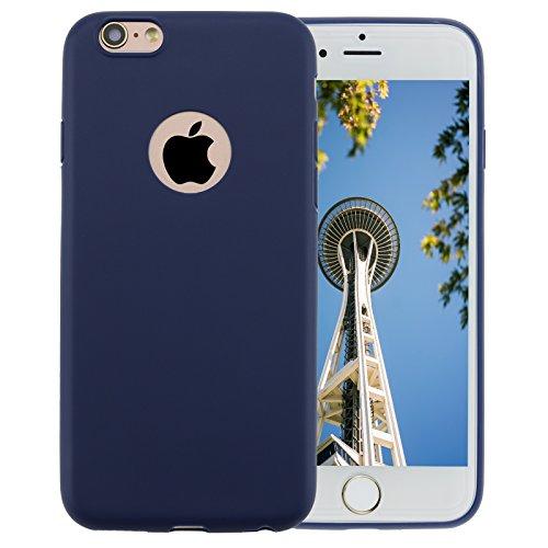 iPhone 6Cas, allbuymall Ultra Fin avec Protection [Candy pur] doux Pure Color Premium semi-transparent non encombrement Coque en TPU pour Apple iPhone 66S (11,9cm) noir foncé