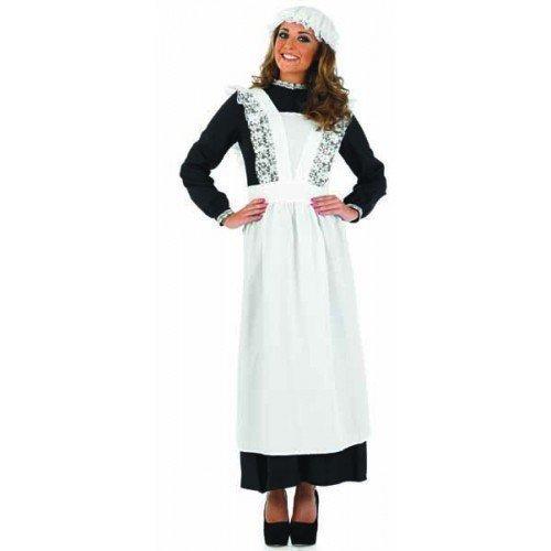 ge Arme Viktorianisch Dienstmagd Dienstmädchen Haushälterin Kostüm Kleid Outfit 8-26 Übergröße - Schwarz & Weiß, UK 12-14 (Dienstmädchen Kleid Kostüm)