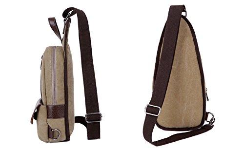 Gzhouse da uomo tela petto borsa Crossbody Sling Pack sbilanciare zaino a tracolla borsetta per scuola ciclismo, trekking, campeggio sport viaggio, Uomo, Khaki Coffee