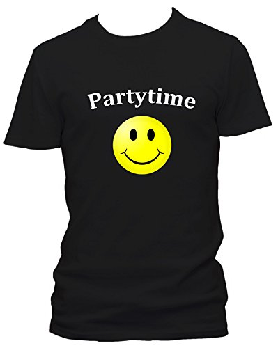 Partytime Club Smylie Sprüche Fun Party Clubwear USA T-Shirt, Größe:XXL;Farbe:schwarz
