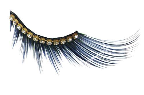 Eulenspiegel 000854 - pestañas artificiales - Efecto negro con cinta de diamantes de imitación - 2 x 1 piezas