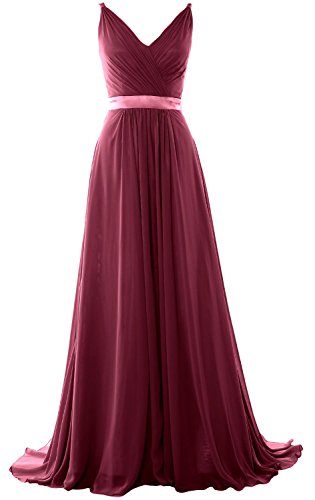 MACloth Women V Neck Mid Open Back Long Bridesmaid Dress Formal Evening Gown Wine Red