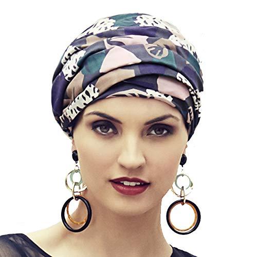 Boho Spirit Headwear Espectacular Turbante Sapphire con su Banda Amovi