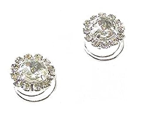 2 Silver Crystal Diamante Round Hair Twists Swirls Pins Spirals
