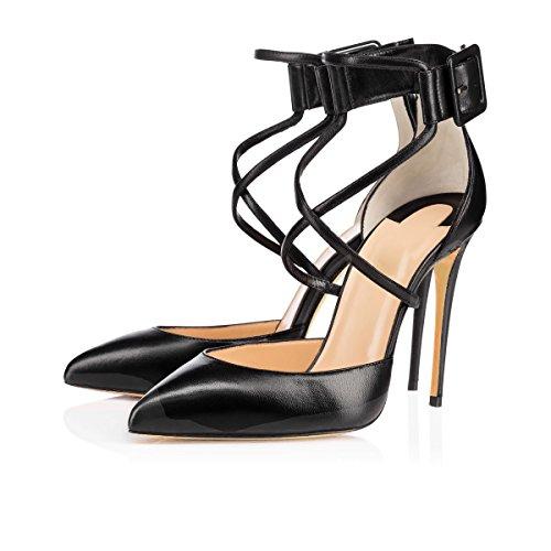 uBeauty Damen Stilettos High Heels Ankle Buckle Pumps Knöchelriemchen Mischfarben Cross Strap Sandalen Schwarz