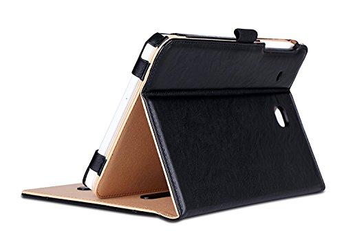 ProCase Galaxy Tab E 8.0 Hülle - Stand Folio Case Cover für Galaxy Tab E 8.0 4G LTE Tablet (Sprint,US Cellular, Verizon) SM-T377, mit Mehreren Blickwinkeln, Dokumentenkarte Tasche -Schwarz (Samsung Us Tab 4 Cellular)
