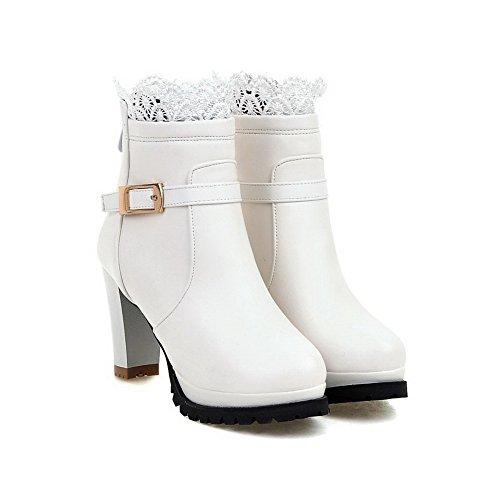 AgooLar Damen Hoher Absatz Weiches Material Niedrig-Spitze Rein Schnüren Stiefel, Weiß, 38