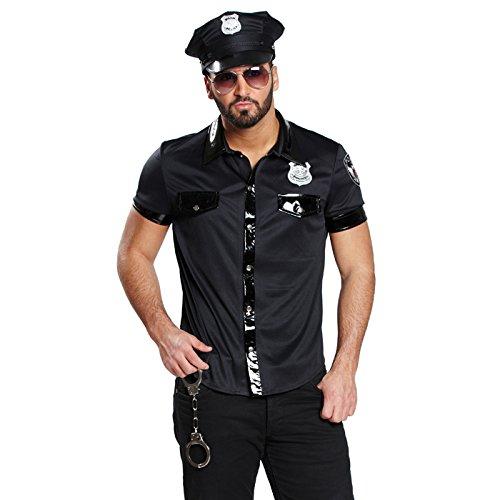 NEU Herren-Hemd Sexy Polizist, schwarz, Gr. 54 (Der Tasche Auf Vorderseite Kragen)