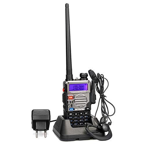 Retevis RT5RV Walkie Talkie Profesional 5W Doble Banda 128Canales Alcance de hasta 5 km Radio Aficionado DTMF VOX FM Radio con Auricular (1 Pack)