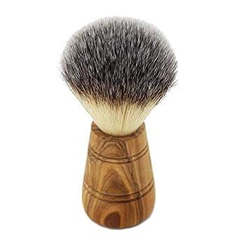 Rasierpinsel aus Kunsthaar – Vegan – perfekte Rasur für Herren   Holzgriff aus hochwertigem Olivenholz   handgemachter Rasierpinsel als ideales Geschenk für Männer