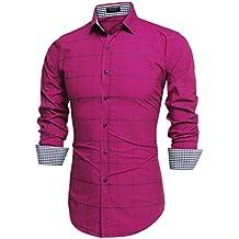 Coofandy Camisa a Cuadros Manga Larga para Hombre
