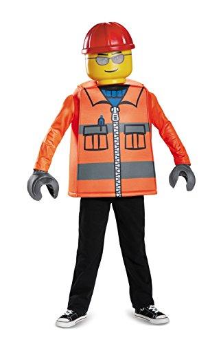 Generique - Lego-Bauarbeiter Lizenz-Kinderkostüm für Karneval orange-gelb 128/134 -