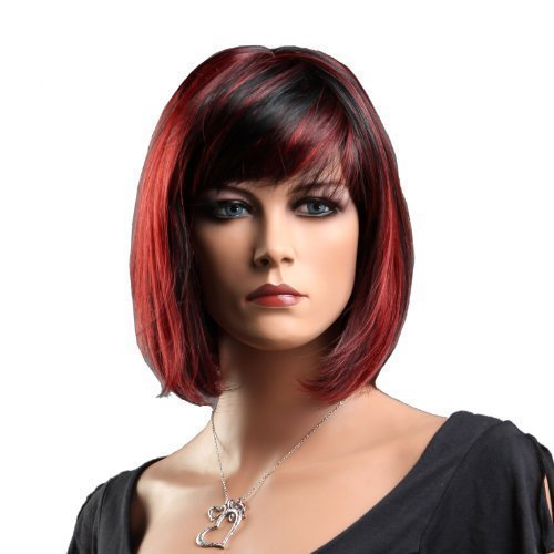 Songmics Neu stilvoll Perücke Haar Wigs Weiblich Schwarz+rot Glatt Kurz für Karneval Cosplay Halloween WFY099