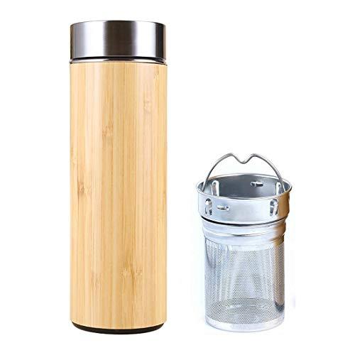 SLOSH Bottiglia tè Teiera Teiere Infusore Filtro Tazza Viaggio Termica tè caffè Borraccia Acqua Thermos Infusione Senza Bpa Acciaio Inox Bambú 450 ml