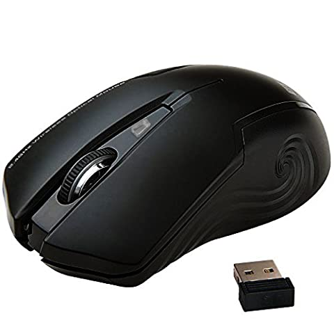 Uping® geräuschlose stumm ergonomische kabellose optische laser Maus mit Nano USB schnurlose Empänger kompatibel zu PC Mac Computer Notebook and Laptop 2.4 GHz 3 Justierbare CPI Level, 1600 CPI, 3 Tasten, 18-Monate Batterielaufzeit Schwarz