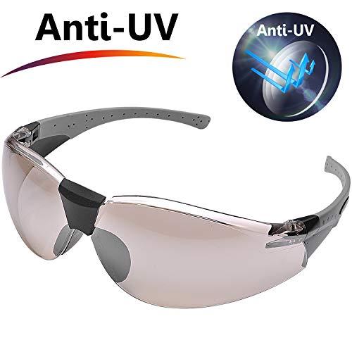 Safeyear sg006 occhiali da sole da uomo sportive ce en166 - occhiali protettivi motocross colore argento 99.9% protezione uv