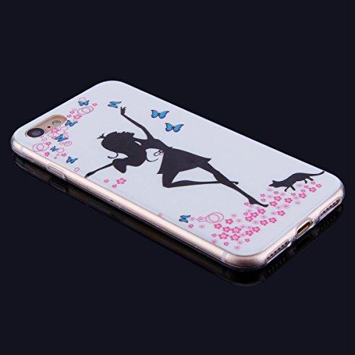 iPhone 7 Custodia Cover Transparente, JAWSEU Apple iPhone 8 Corpeture Chiaro Case Disegni Creativo Bella Vintage Elegante Super Sottile Bumper Case Custodia Cover per iPhone 7 / 8 Protettiva Shock-Abs Ragazza
