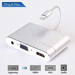 MASOMRUN vers HDMI Convertisseur Adaptateur VGA AV, 4 en 1 Plug and Play HDMI/VGA/Audio/AV Connecteur Adaptateur multiport numérique pour iPh X 8 7 6 6s 5 Plus iPad iPod sur projecteur HDTV
