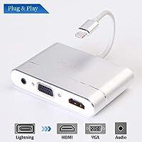 MASOMRUN a HDMI + VGA + Adaptador de Audio, 1080p VGA HDTV y HDMI y Adaptador de Audio, 3 en 1 AV convertidor de Adaptador Digital para Todos Sobre iOS 8 iPh y Pad - versión Plug and Play