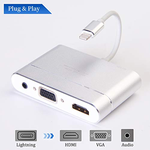 MASOMRUN Digitaler AV-Adapter, auf HDMI & VGA & Audio Video Conversion Adapter mit Micro USB Ladekabel für Phone XS/Pad Mini (Av Apple Adapter Hdmi)
