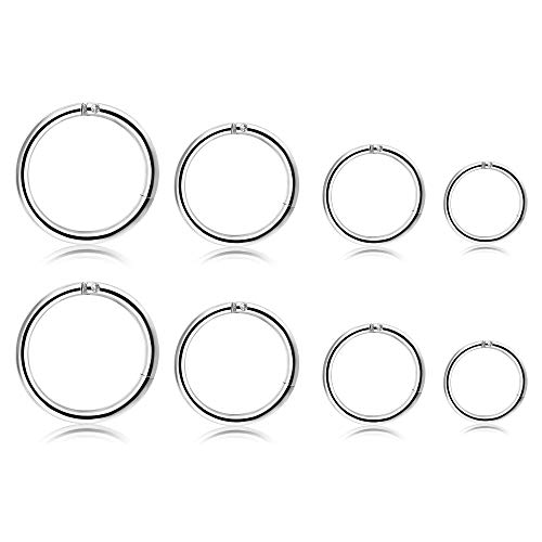 Milacolato 6-8 Pcs 316L Edelstahl Verbesserte klappbare Clicker Ringe Nase Hoops Septum Segment Ring Sleeper Ohrringe Knorpel Piercings für Männer Frauen (Septum-hoop-ringe)