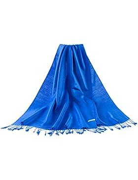Bufanda de moda de color liso de Pashmina de las mujeres- Real Azul